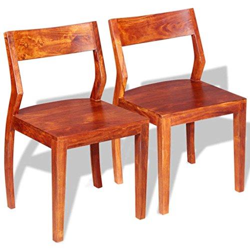 ROMELAREU Esszimmerstühle 2 STK. Akazienholz Sheesham Massiv Möbel Stühle Küchen- und Esszimmerstühle