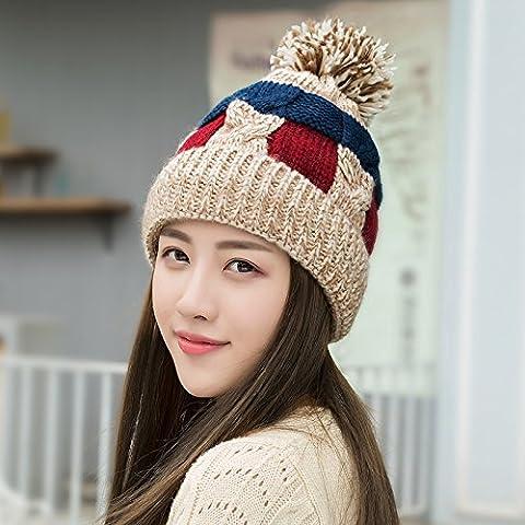 FQG*Sra. Sombrero de invierno la marea sin pelusa espesa de color precioso tejido hat otoño cálido invierno hechizos tejer oído hat , beige