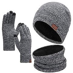 Idea Regalo - Bequemer Laden Set di Accessori Invernali per Uomo e Donna Caldo Foderato in Pile Cappello Berretto Invernale Sciarpa Guanti Touch Screen 1-3 Pezzi