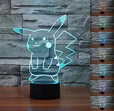 SMIN Luz de noche LED fantasma 3D, lámpara de escritorio USB con interruptor de gradiente de 7 colores (Pokemon Pikachu) por SMIN