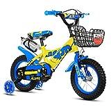 Bicicletas infantiles Bicicleta para niños 12|14|16|18 pulgadas Niño al aire libre Bebé Niño Bicicleta de montaña Regalo de niña de 2 a 10 años con rueda de entrenamiento Flash | Cesta de hierro | Botella de agua con carga segura ajustable 100 KG ( Color : Azul , Tamaño : 18 inches )