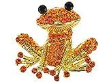 Alilang Fiery tono dorado y cristales de color naranja rojo feliz sonriente rana Pin broche