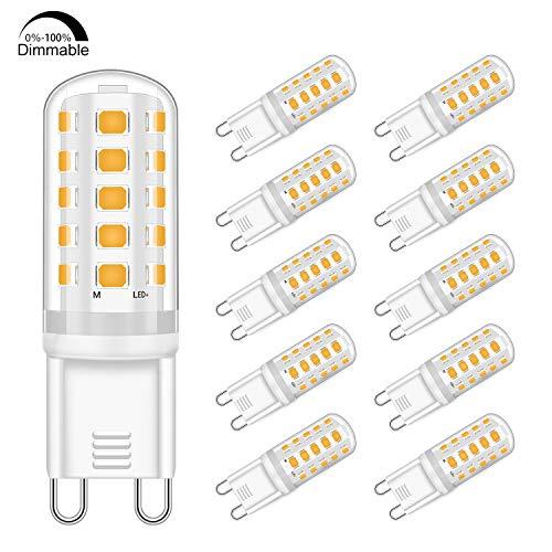 G9 LED Dimmbar Lampen 5W Ersatz für 33W 40W Halogenlampe - Warmweiß 2700K Led glühbirnen - G9 Sockel Led Birne Leuchtmittel, 400LM,AC 220-240V, 10er Pack -