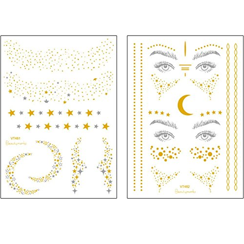 Metallic Temporäre Tattoos, 2er Pack Gold Silber Temporäre Tattoos Glitter Shimmer Design Schmuck Tattoos Gefälschte Wasserdichte Schweißfeste Tattoos