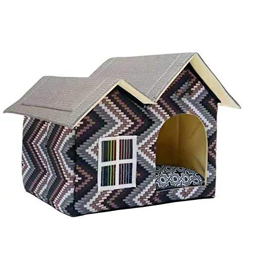 Ausomely Hundebett Hundehaus Hundehöhle Haustier Bett Warm Schlafsack Korb hundehütte mit Ablösbar Kissen Matte für Hunde, Katzen