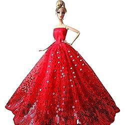 Creation® Maravilloso Moda Banquete de boda del vestido de los vestidos y ropa para la muñeca de Barbie del regalo de Navidad-Rojo