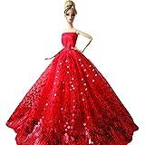 Creation® magnifiques Mode de mariage Parti robe Robes et vêtements pour Barbie Doll Xmas Gift-Rouge
