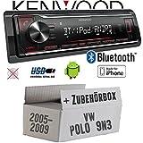 VW Polo 9N3 - Autoradio Radio Kenwood KMM-BT204 - Bluetooth | MP3 | USB | iPhone - Android - Einbauzubehör - Einbauset