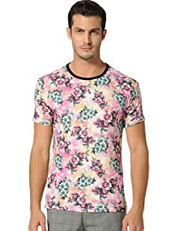 SSLR Men's Floral Printed Crew Neck Short Sleeve Casual Tee Shirt