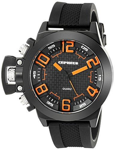 CEPHEUS CP901-622E - Reloj analógico de cuarzo para hombre con correa de silicona, color negro