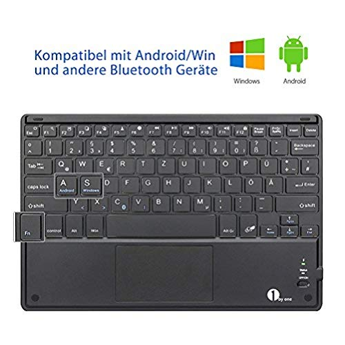 1 BY ONE Bluethooth Tastatur, QWERTZ Deutsche Laptop Tastatur, Tragbare Kabellose Tastatur, Tablet Tastatur, PC Tastatur Kompatibel mit Android Windows IOS 13, mit Touchpad, Schwarz