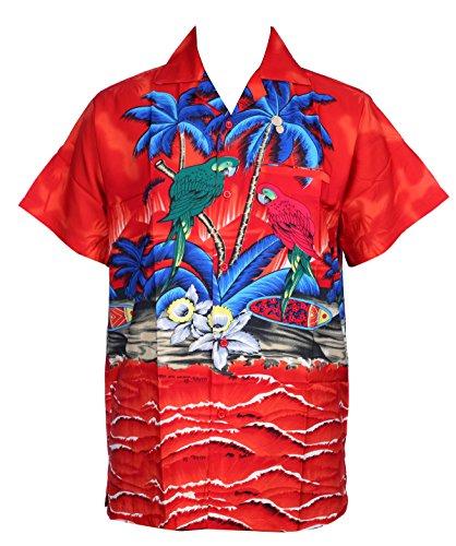 Camisa-hawaiana-para-hombre-diseo-de-loros-en-el-centro-con-loro-para-la-playa-fiestas-verano-y-vacaciones-multicolor-rosso-Talla-nica