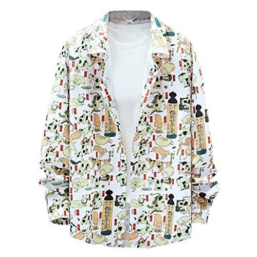B-COMMERCE Herren Hemd Herren Hemd Langarm Baumwolle Gedruckt Regular Fit Freizeithemd Bügelleicht Langarmhemd Shirt (Von Lauren Polo-shirts Pack Ralph)