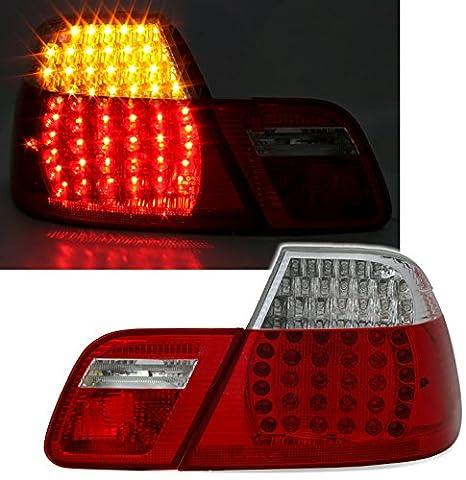 Set de feux arrière LED En verre transparent Rouge/blanc