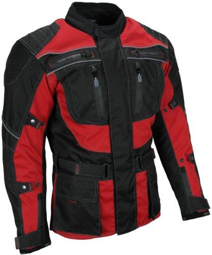 Heyberry Touren Motorrad Jacke Motorradjacke Textil schwarz rot Gr. 3XL (Rot Motorrad-jacke)