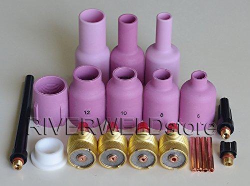 TIG Gaz Lens Collets Corps Casquette Arrière Buse de Alumine Kit Fit PTA DB SR WP 9 20 25 Torche de Soudage Tig 20pcs