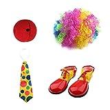 MagiDeal Kit Accessoire Déguisement Clown Perruque Multiclore+Cravate Polka Dot+Nez+Chaussure pour Adulte Enfant