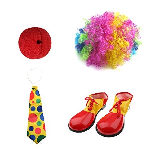 MagiDeal Joker Kostüm Set,(Perücke, Rote Nose, Schuhe, (Schuhe Riesen Clown)