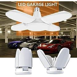 Gezee Éclairage de garage à LED,48W E27 6500K 4800Lm Lampe d'atelier déformable à 4 panneaux ajustables, Plafonnier LED pour garage, Entrepôt, Atelier, Sous-sol, Gym, Cuisine (Pack de 1))