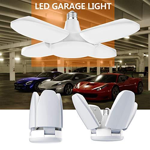 Gezee LED Garagenleuchten, 48W E27 6500K 4000LM verstellbare Garagenlicht für Garage, Lager, Werkstatt, Keller, Turnhalle, Küche(1er-pack) - E26 Standard Schraube Basis
