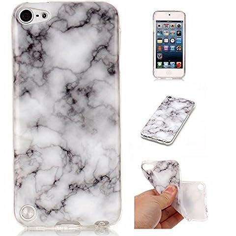 Coque iPod Touch 5 /6, Meet de Téléphone Case (Design marbre) Slim TPU Silicone Case Cover Housse Etui pour iPod Touch 5 /6 - La fumée