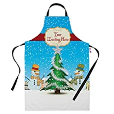 Personalised Snowmen Christmas Apron for Women & Men - Add your own Text