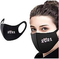 COKKISS UK 1 pieza 2021 Feliz Año Nuevo Adulto cubierta cara a prueba de viento niebla niebla filtración para protección contra el humo bandanas reutilizables lavables piel amigable con la cara