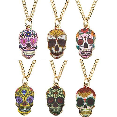 Amosfun 6 Stücke Schädel Halskette Kreative Halskette Halloween Kostüme Schädel Gemusterte Hängende Anhänger Halloween Persönlichkeit Schlüsselbein Kette (Rabe-kostüm Für Frauen)