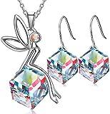 SONGPANNA Schutzengel schmucksets,Damen Kette Damen Halskette mit Engel Anhänger, Kristallen Ohrringe,Geschenke,
