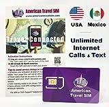 Carte SIM prépayée - États-Unis et Mexique, données Internet illimitées, appels illimités et texte...