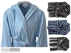 Homescapes Peignoir Velours 100% Coton Homme à Capuche Bleu Clair Rayures Blanc Taille Unique