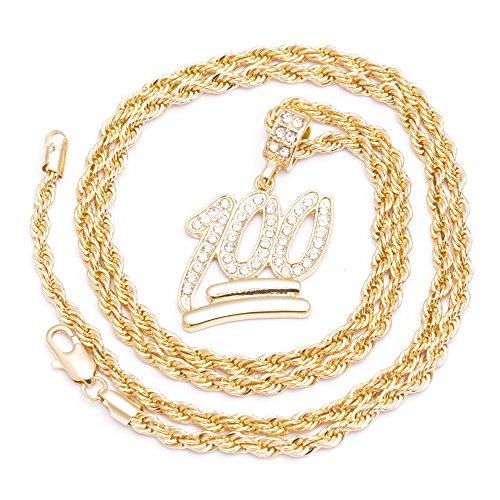 Herren New Emoji-100 Iced Out Anhänger Diamond Cut Seil vergoldet Kette (Einfach Kostüm Für Indischen Jungs)