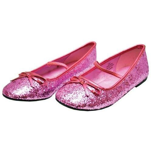 Flat Glitter Ballet Child Costume Shoes, Pink: MD