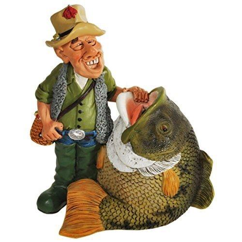 Witzige Spardose Angler mit Fisch Hobby Angeln -