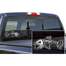 2 Piezas Etiquetas Engomadas De Gráficos En Barco Pegatinas Negro Esqueleto Rojo Pescado De Barco Pesca