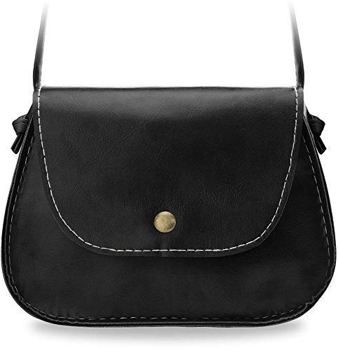 kleine Damentasche Messengertasche Umhängetasche City - Tasche (creme) schwarz