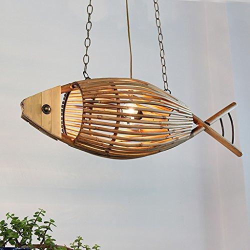 Vampsky American Village Kreative Massivholz Fisch Form Decke Pendelleuchten Restaurant Gegrillter Fisch Bar Cafe Bambus Kronleuchter Küche Bauernhaus Hot Pot Shop Einstellbare Hängelampe E27 -