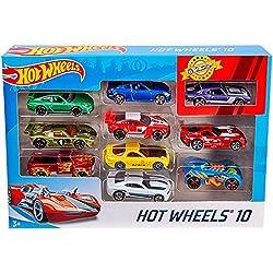 Hot Wheels Pack de 10 vehículos, coches de juguete (modelos surtidos) (Mattel 54886)