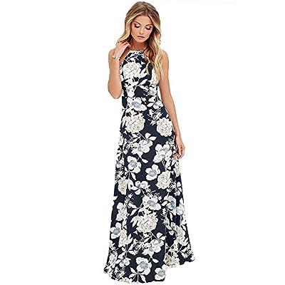 Romacci Sexy Women Maxi Dress Halter Neck Floral Print Sleeveless Summer Beach Long Slip Dress S-5XL,Blue/Black/Dark Blue/White/Pink/Burgundy