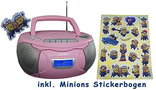 Denver tragbares Radio, CD, Kassettenspieler, Aux-In, Batterie und Netzbetieb, inkl. Minions Sticker (Pink) (Minion Radio Fm)