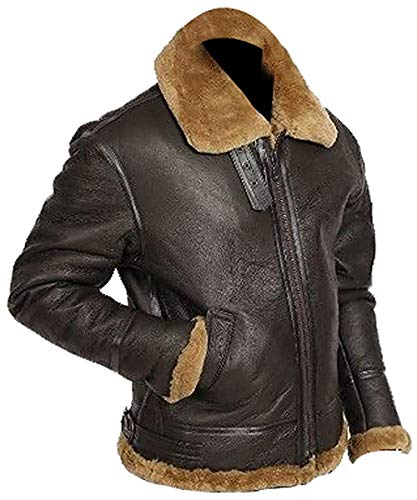 Resident 4 Evil Shearling Pelzjacke Bomber B3 Aviator Brown Ginger Leather Jacket für Herren   B3-Jacke für Herren: Winter Spaicial (XXL)