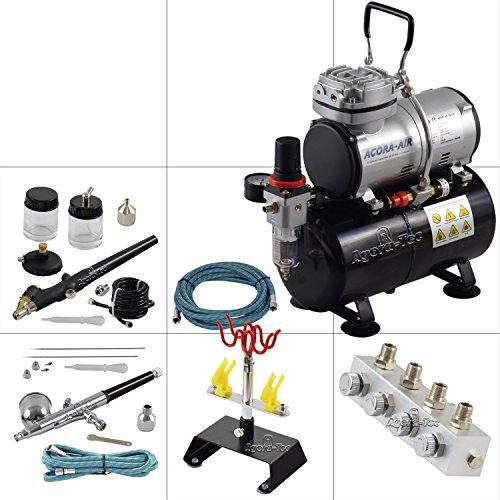 Preisvergleich Produktbild Agora-Tec® Airbrush Komplett-Set PROFI XVI.1, inkl. Kompressor mit 4 bar, 20l/min und 3 Liter Tank + 2 Airbrushpistolen mit 0,2 & 0,3 & 0,5 & 0,8mm Nadeln/Düsen + regelbaren 4-fach Luftdruckverteiler + 4-fach Halter + 2 Schläuche + Adapter