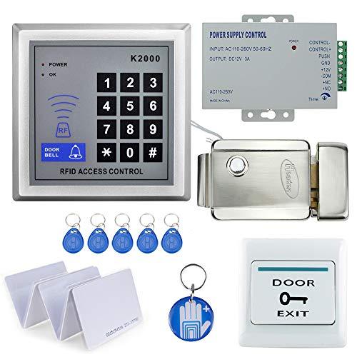 OBO HANDS Kit Completo di Sistema di Controllo Accessi RFID del Corredo con la Serratura Elettrica Multifunzionale Magnetica + Alimentazione + Tasto di Uscita + 10 Keychains (Serratura Elettronica)