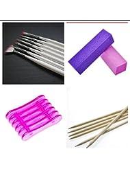 New Nail Art Maniküre Set, 7-tlg Pinsel Set, Pinselhalter, Rosenholzstäbchen, 2 Nagel Buffer Pflege Zubehör für Nagel Design