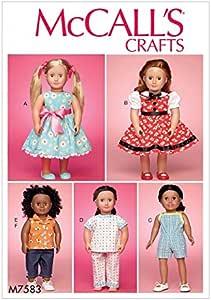 McCalls Craft 7593 Patron de couture facile pour v/êtements de poup/ée