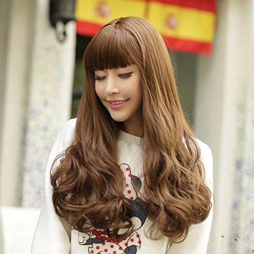 ragazza parrucca/Soffici frangia lunga parrucca riccia/ capelli di