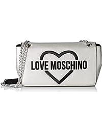 Love Moschino Damen Schultertasche, Silber (Silver), 8x16x28 cm