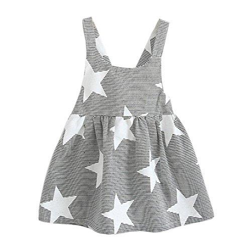 HUIHUI Kleid Mädchen, Toddler Mädchen Kleid Star Stripe Ärmelloses Sommerkleid Party Prinzessin Dress Casual T-Shirt Kleid Frühlings Herbst Cocktailkleid (130 (5-6Jahre), Grau)