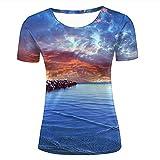 Damen Tshirts Cool Sunset Beach Sky Clouds 3D Pattern Print XL