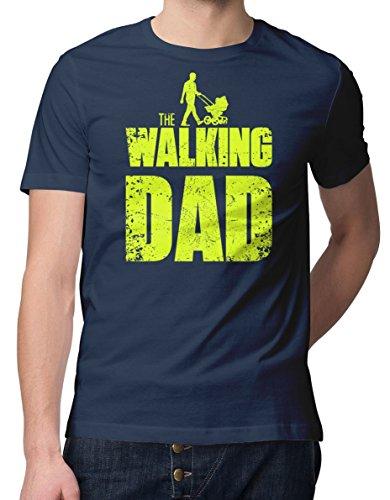 RoughTex Herren T-Shirt The Walking Dad mit Kinderwagen Navy-Gelb M